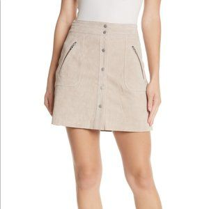 Blank NYC Suede Leather Snap Button Mini Skirt